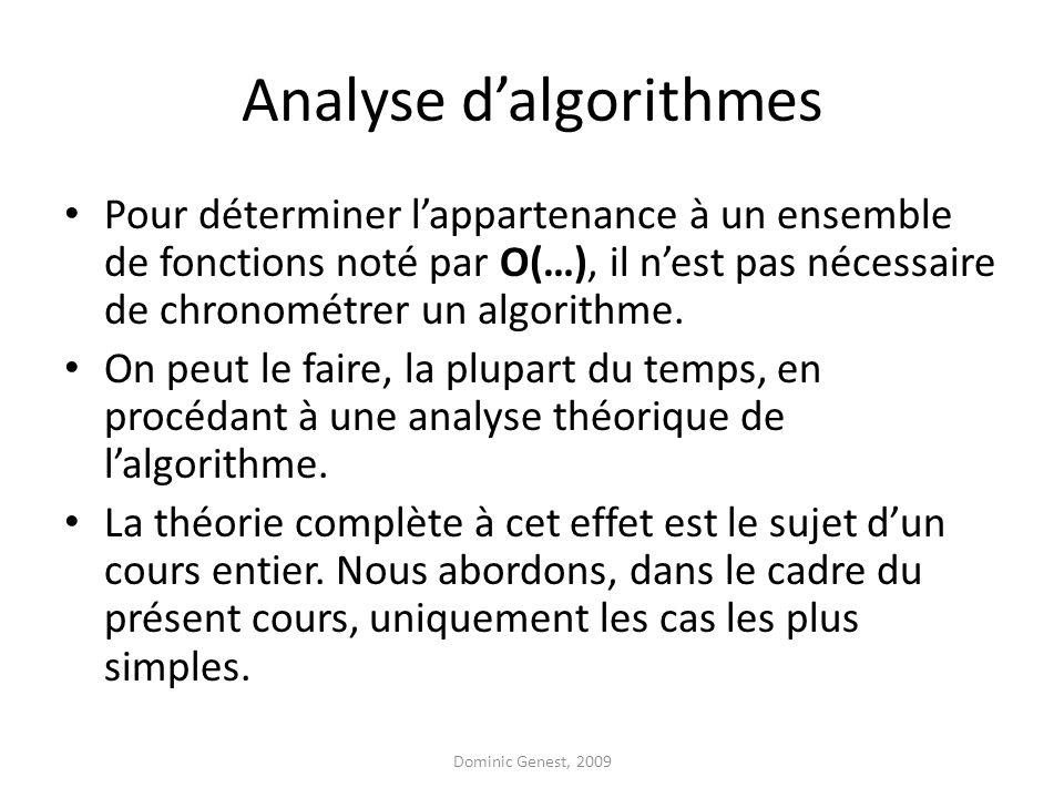 Analyse dalgorithmes Pour déterminer lappartenance à un ensemble de fonctions noté par O(…), il nest pas nécessaire de chronométrer un algorithme.