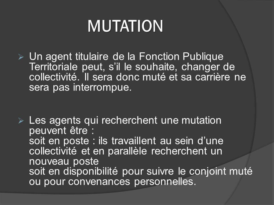 MUTATION Un agent titulaire de la Fonction Publique Territoriale peut, sil le souhaite, changer de collectivité.
