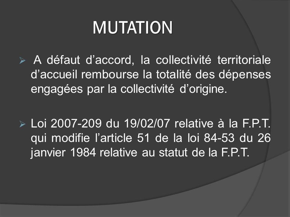 MUTATION A défaut daccord, la collectivité territoriale daccueil rembourse la totalité des dépenses engagées par la collectivité dorigine.