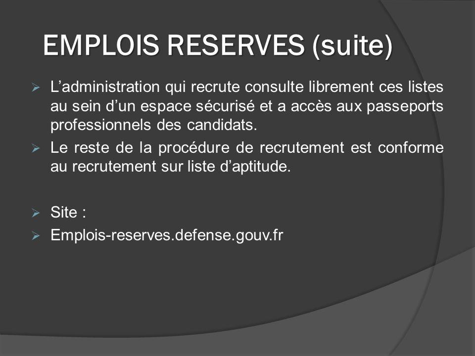 EMPLOIS RESERVES (suite) Ladministration qui recrute consulte librement ces listes au sein dun espace sécurisé et a accès aux passeports professionnels des candidats.