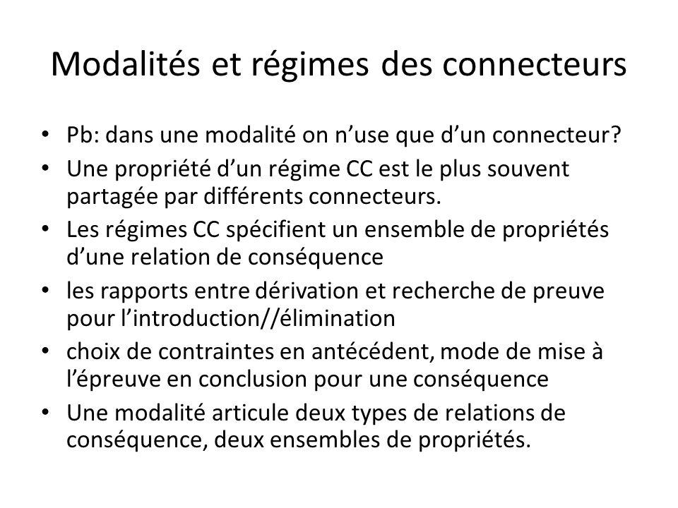 Modalités et régimes des connecteurs Pb: dans une modalité on nuse que dun connecteur.
