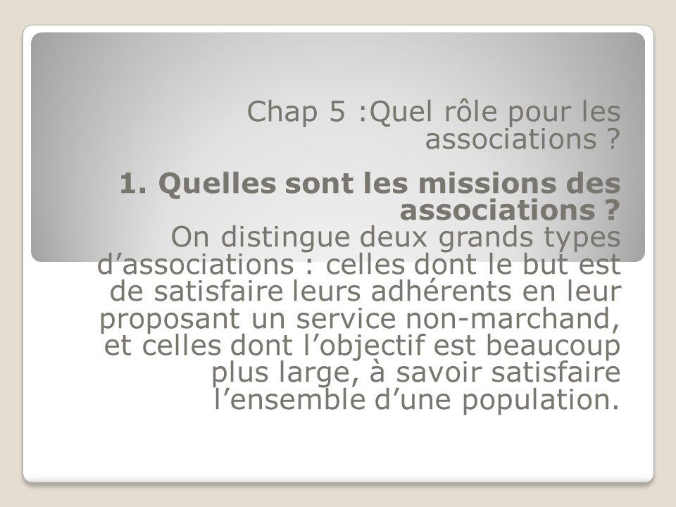 Chap 5 :Quel rôle pour les associations ? 1. Quelles sont les missions des associations ? On distingue deux grands types dassociations : celles dont l