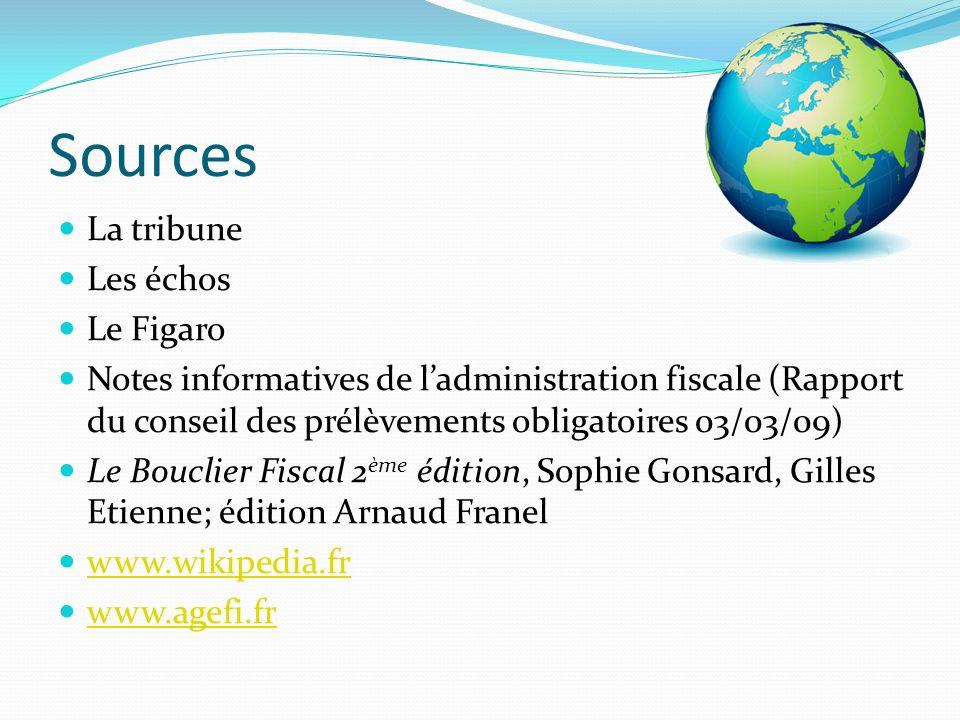 Sources La tribune Les échos Le Figaro Notes informatives de ladministration fiscale (Rapport du conseil des prélèvements obligatoires 03/03/09) Le Bo