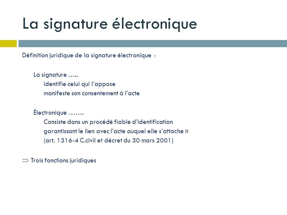 La signature électronique Définition juridique de la signature électronique : La signature ….. identifie celui qui lappose manifeste son consentement