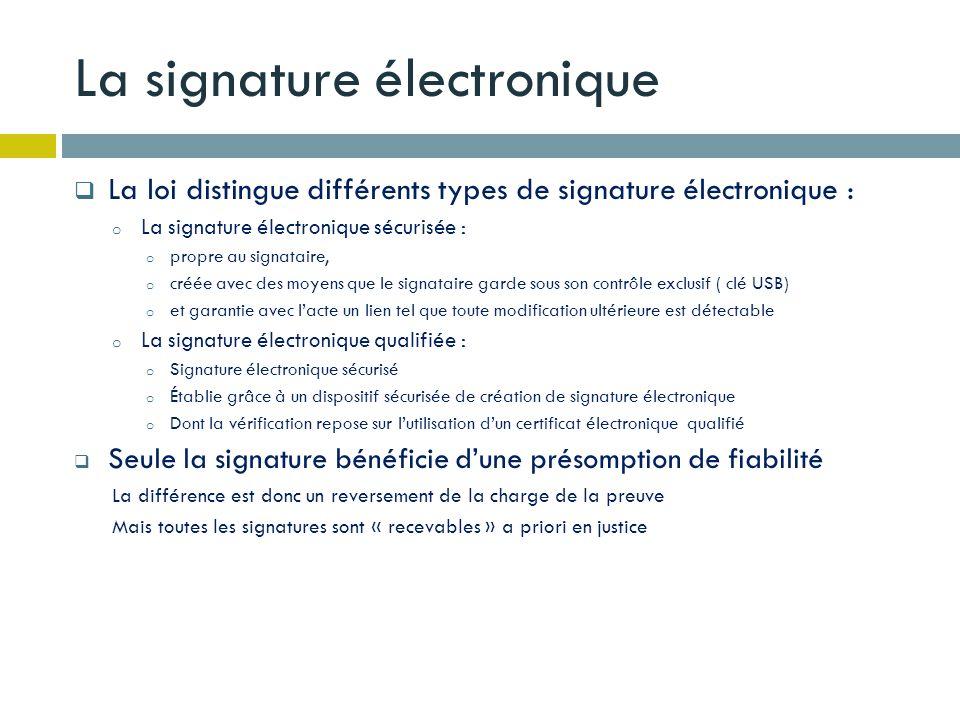 La signature électronique La loi distingue différents types de signature électronique : o La signature électronique sécurisée : o propre au signataire