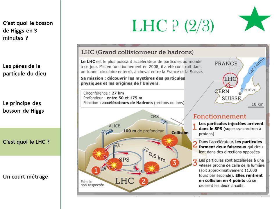 LHC ? (2/3) Cest quoi le bosson de Higgs en 3 minutes ? Les pères de la particule du dieu Le principe des bosson de Higgs Cest quoi le LHC ? Un court