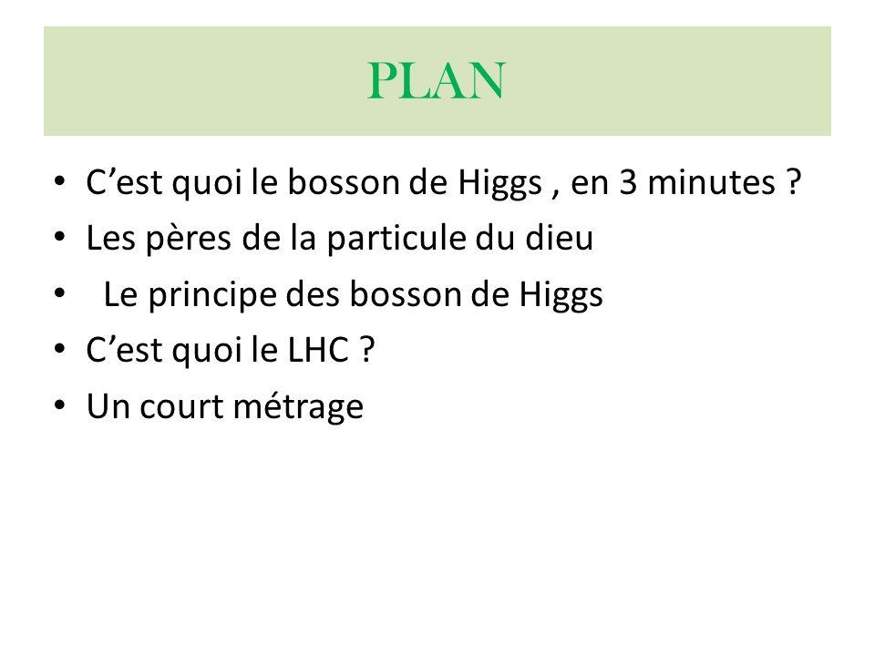 PLAN Cest quoi le bosson de Higgs, en 3 minutes ? Les pères de la particule du dieu Le principe des bosson de Higgs Cest quoi le LHC ? Un court métrag