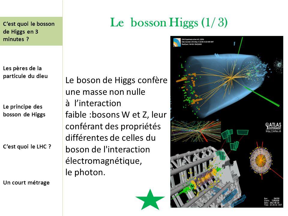 Le bosson Higgs (1/ 3) Le boson de Higgs confère une masse non nulle à linteraction faible :bosons W et Z, leur conférant des propriétés différentes d