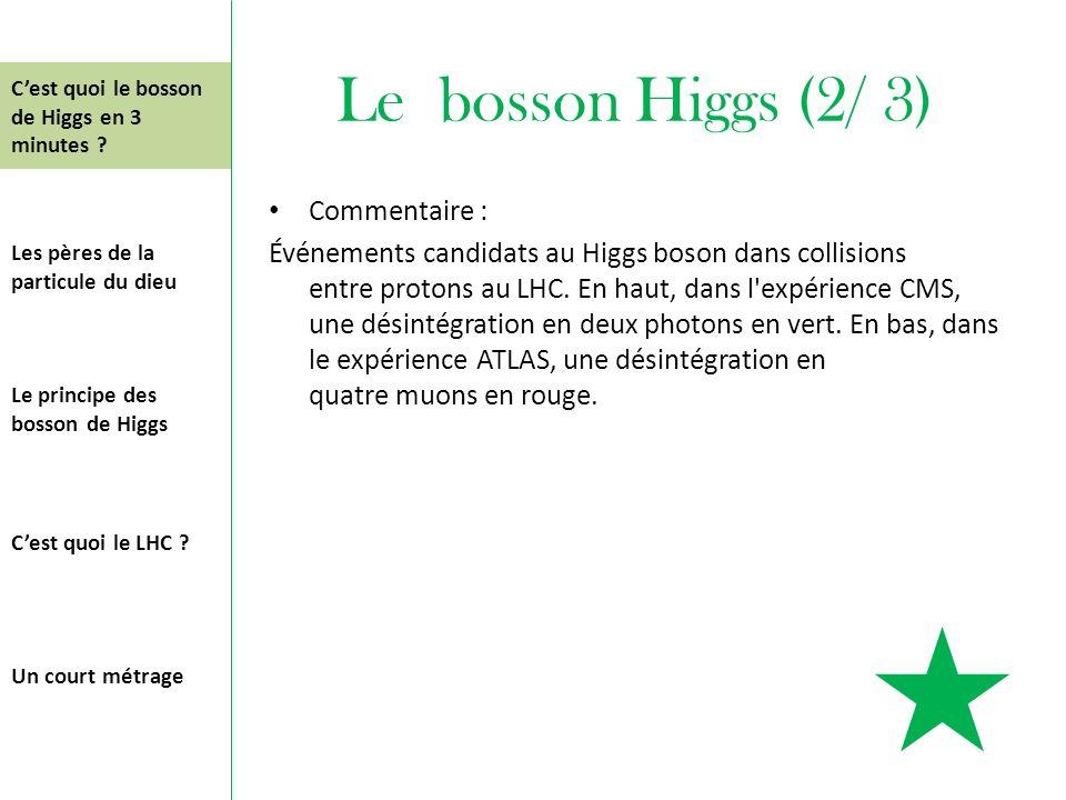 Le bosson Higgs (2/ 3) Commentaire : Événements candidats au Higgs boson dans collisions entre protons au LHC. En haut, dans l'expérience CMS, une dés
