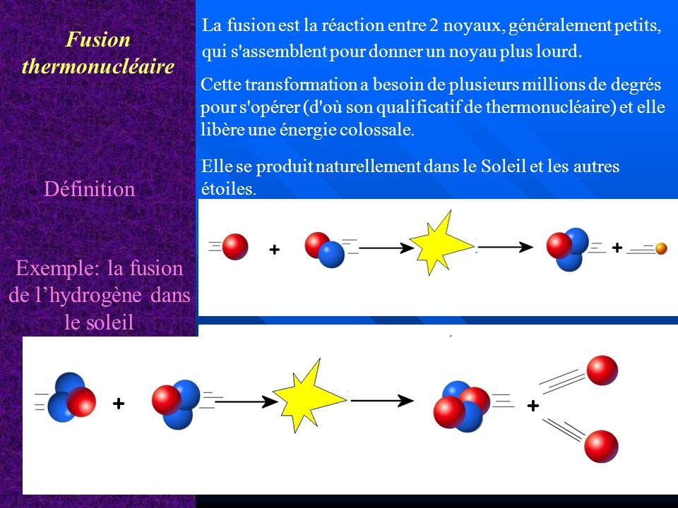 Fusion thermonucléaire Définition Elle se produit naturellement dans le Soleil et les autres étoiles. La fusion est la réaction entre 2 noyaux, généra