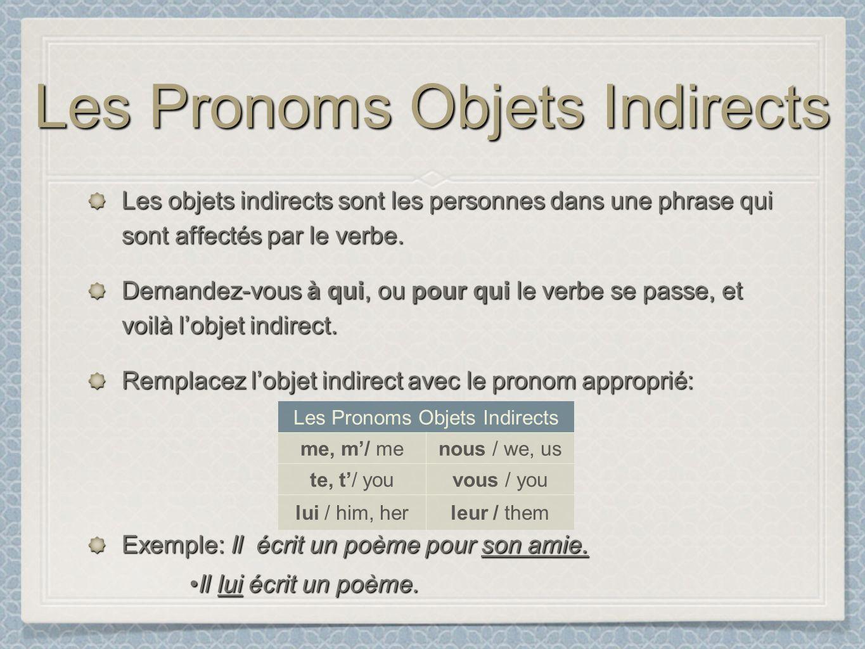 Les Pronoms Objets Indirects Les objets indirects sont les personnes dans une phrase qui sont affectés par le verbe. Demandez-vous à qui, ou pour qui