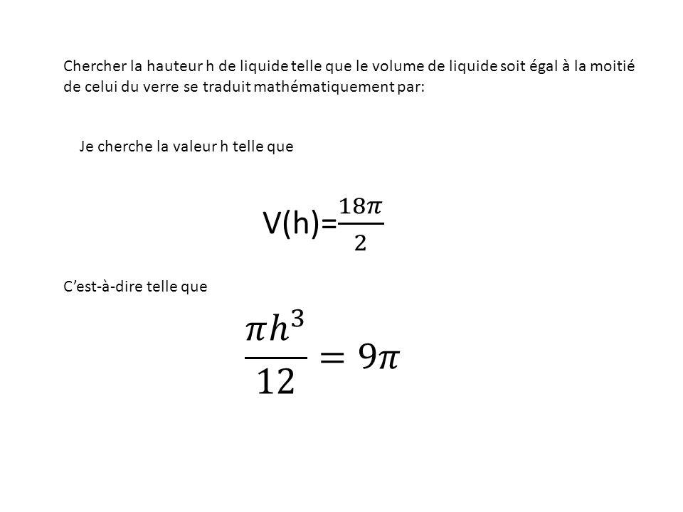 Chercher la hauteur h de liquide telle que le volume de liquide soit égal à la moitié de celui du verre se traduit mathématiquement par: Je cherche la