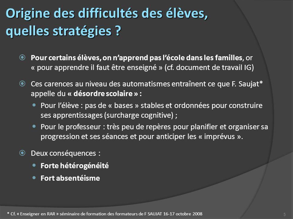 5 Origine des difficultés des élèves, quelles stratégies .