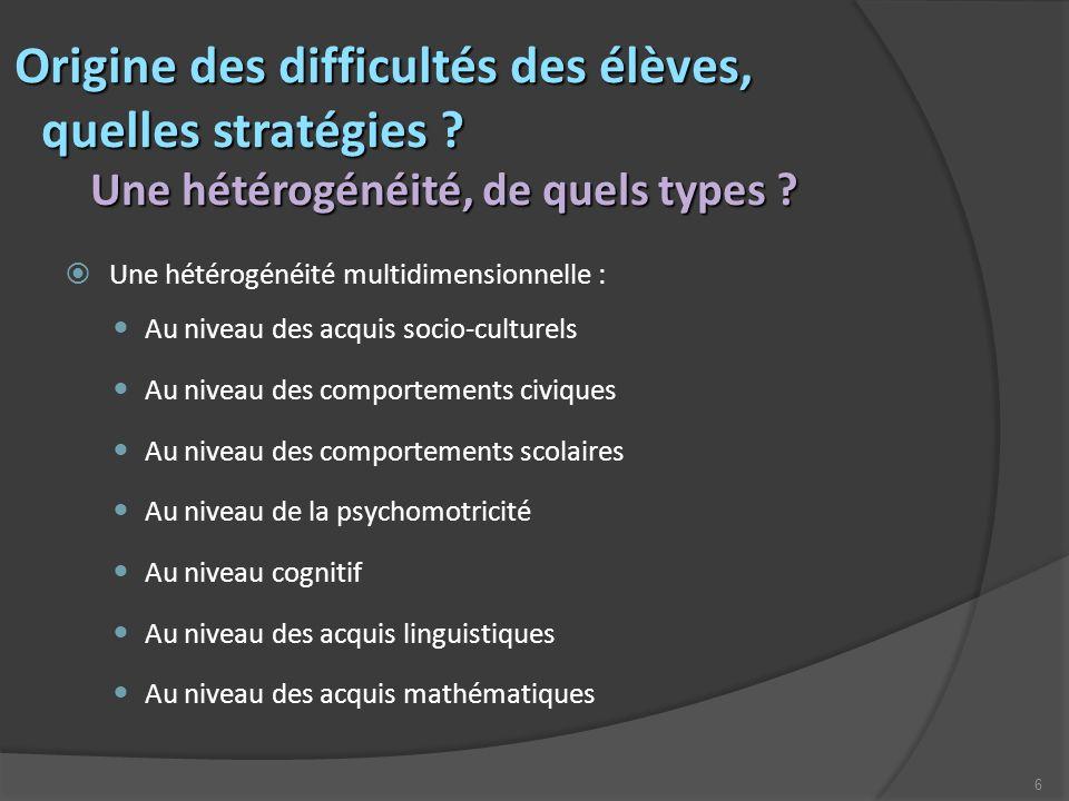 6 Origine des difficultés des élèves, Origine des difficultés des élèves, quelles stratégies ? Une hétérogénéité, de quels types ? quelles stratégies