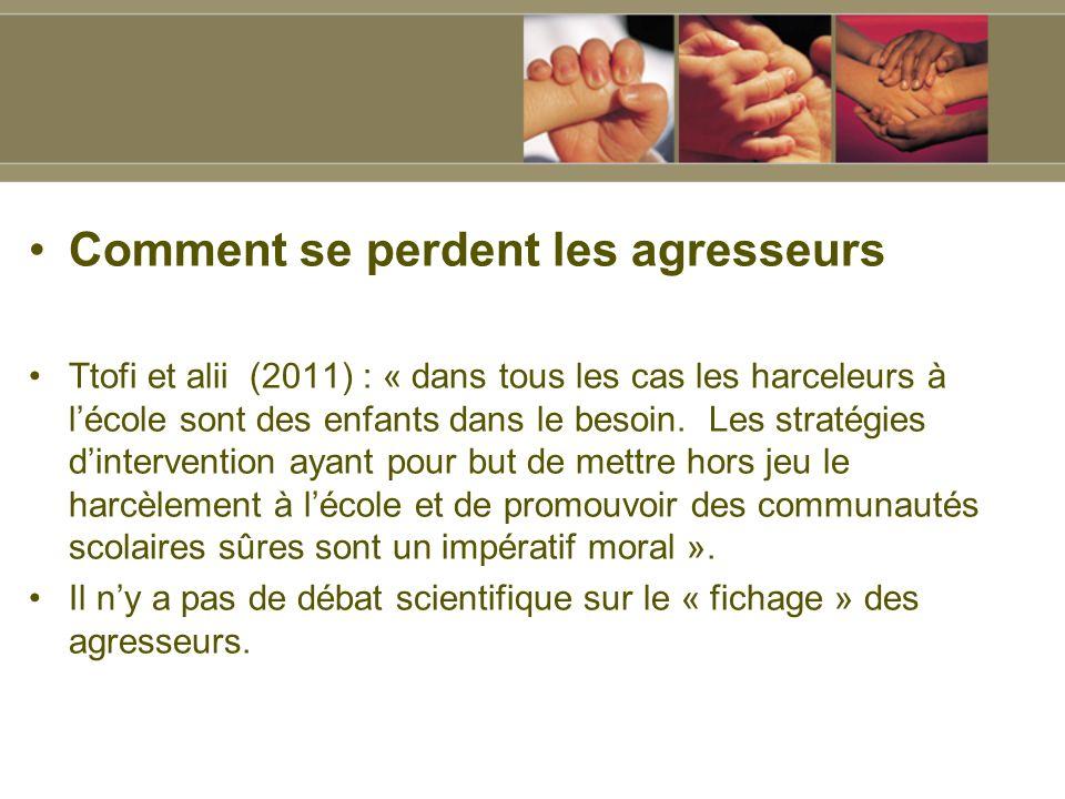 Comment se perdent les agresseurs Ttofi et alii (2011) : « dans tous les cas les harceleurs à lécole sont des enfants dans le besoin.