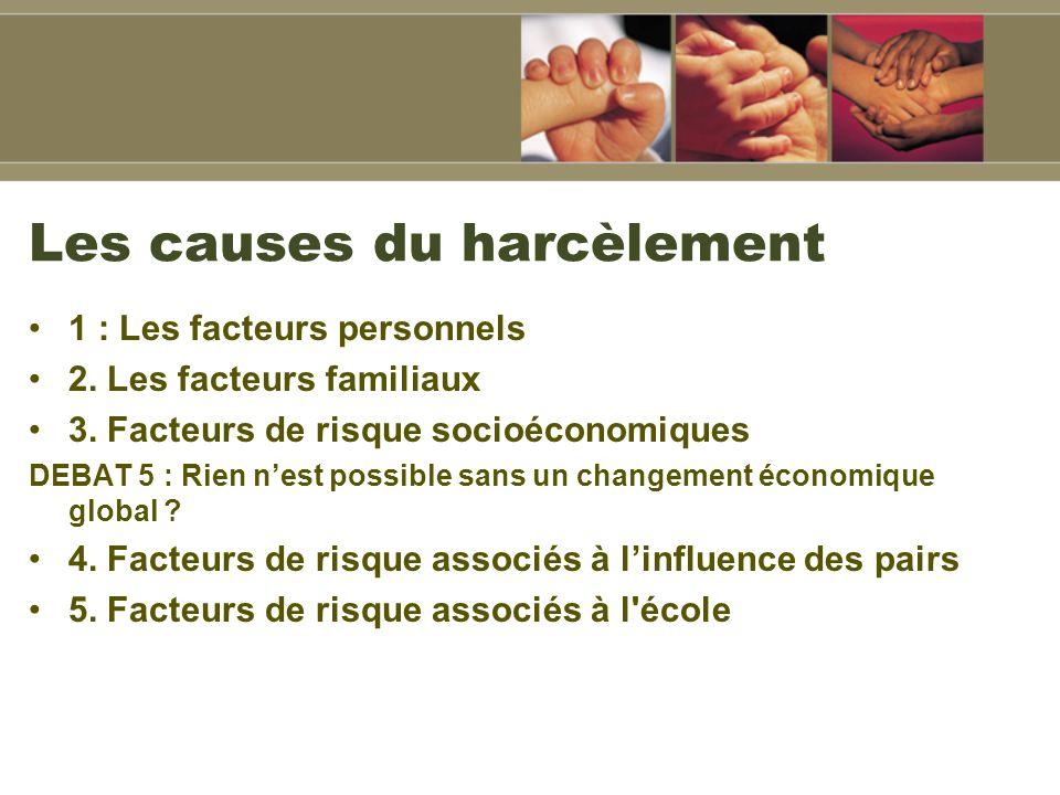 Les causes du harcèlement 1 : Les facteurs personnels 2.