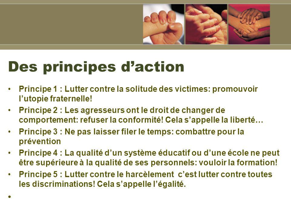 Des principes daction Principe 1 : Lutter contre la solitude des victimes: promouvoir lutopie fraternelle.