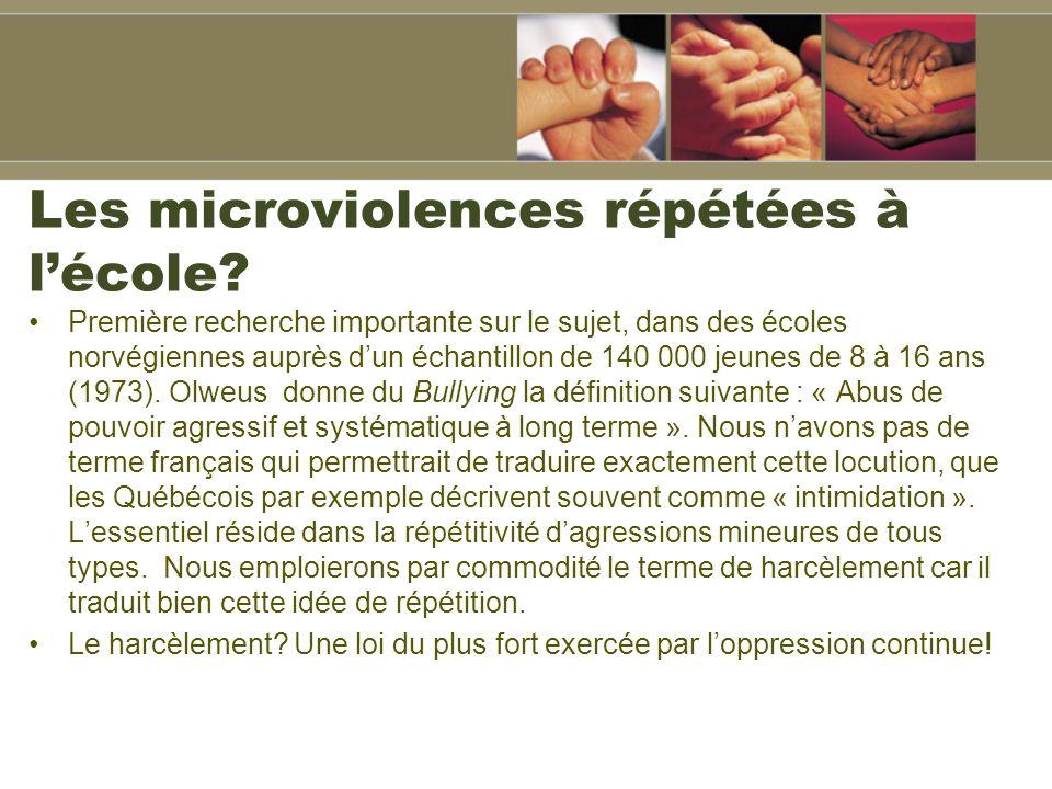 Les microviolences répétées à lécole.