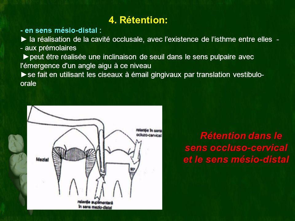 4. Rétention: - en sens mésio-distal : la réalisation de la cavité occlusale, avec lexistence de listhme entre elles - - aux prémolaires peut être réa