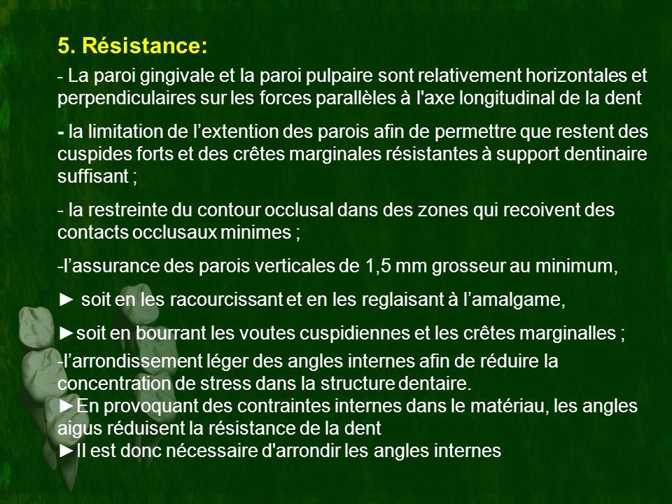 5. Résistance: - La paroi gingivale et la paroi pulpaire sont relativement horizontales et perpendiculaires sur les forces parallèles à l'axe longitud