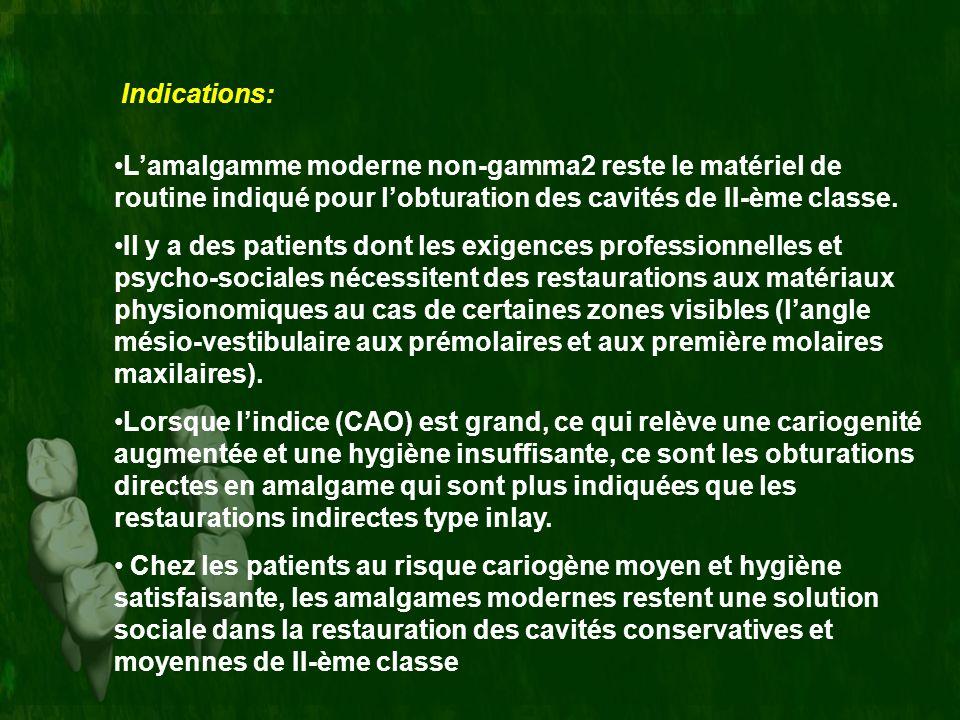 Indications: Lamalgamme moderne non-gamma2 reste le matériel de routine indiqué pour lobturation des cavités de II-ème classe. Il y a des patients don