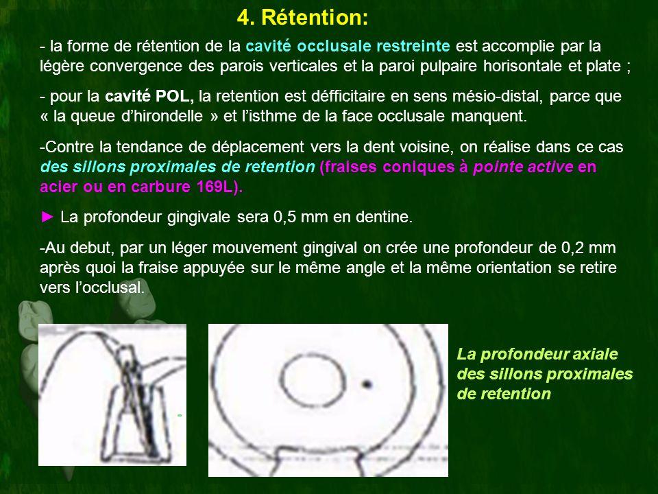 4. Rétention: - la forme de rétention de la cavité occlusale restreinte est accomplie par la légère convergence des parois verticales et la paroi pulp