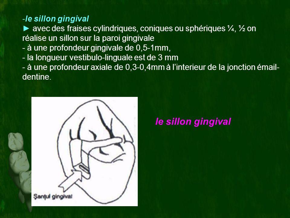 -le sillon gingival avec des fraises cylindriques, coniques ou sphériques ¼, ½ on réalise un sillon sur la paroi gingivale - à une profondeur gingival