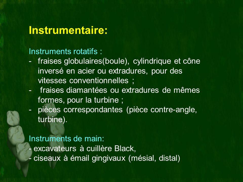 Instrumentaire: Instruments rotatifs : -fraises globulaires(boule), cylindrique et cône inversé en acier ou extradures, pour des vitesses conventionne
