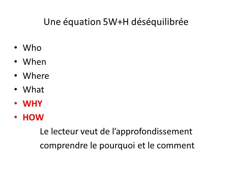 Une équation 5W+H déséquilibrée Who When Where What WHY HOW Le lecteur veut de lapprofondissement comprendre le pourquoi et le comment