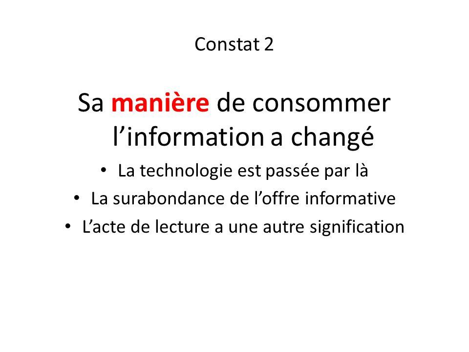 Constat 2 Sa manière de consommer linformation a changé La technologie est passée par là La surabondance de loffre informative Lacte de lecture a une autre signification