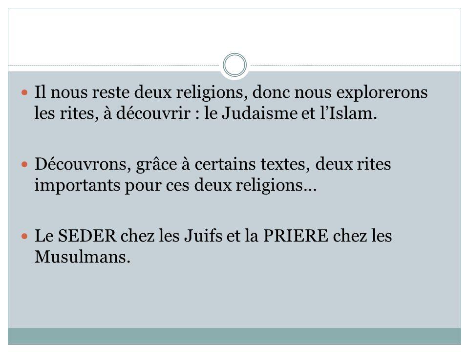 Il nous reste deux religions, donc nous explorerons les rites, à découvrir : le Judaisme et lIslam.