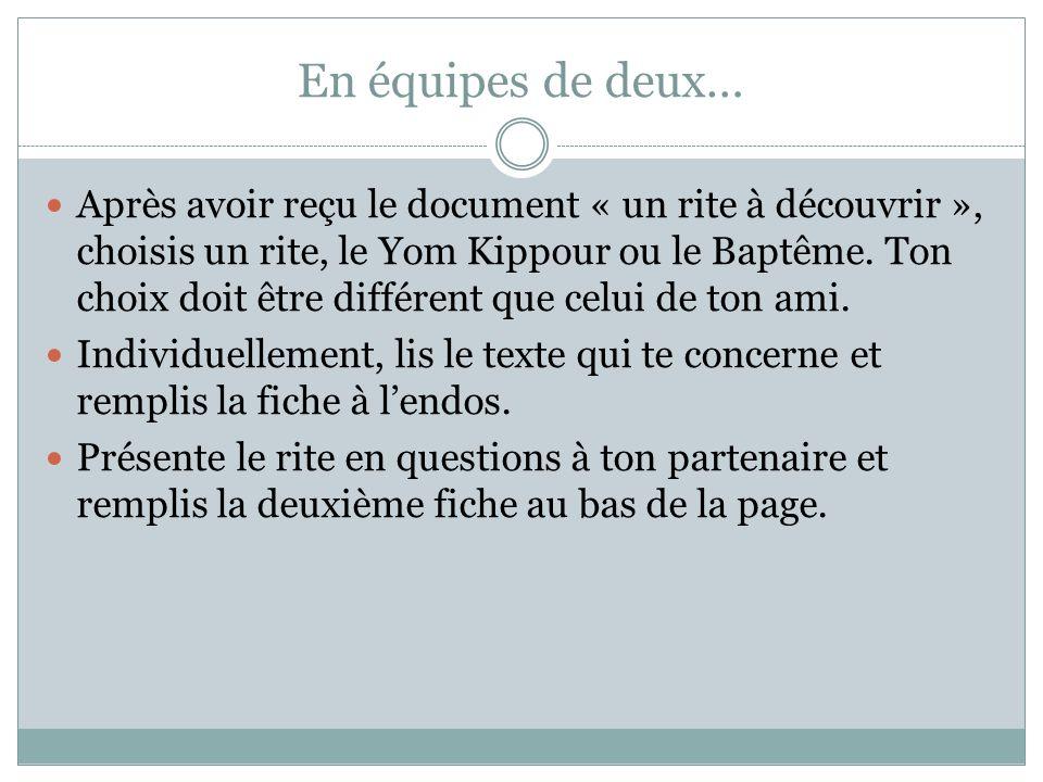 En équipes de deux… Après avoir reçu le document « un rite à découvrir », choisis un rite, le Yom Kippour ou le Baptême.