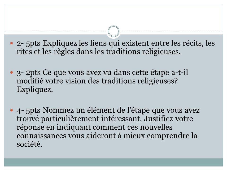 2- 5pts Expliquez les liens qui existent entre les récits, les rites et les règles dans les traditions religieuses.