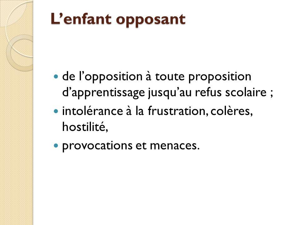Lenfant opposant de lopposition à toute proposition dapprentissage jusquau refus scolaire ; intolérance à la frustration, colères, hostilité, provocations et menaces.