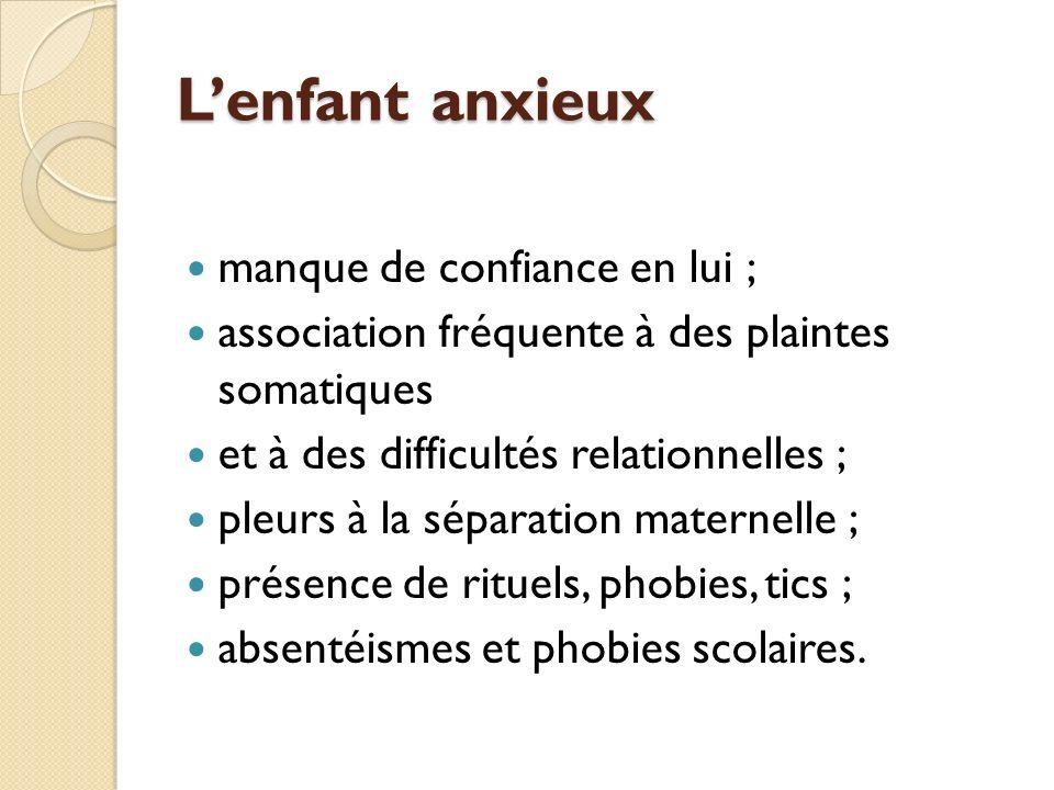Lenfant anxieux manque de confiance en lui ; association fréquente à des plaintes somatiques et à des difficultés relationnelles ; pleurs à la séparat