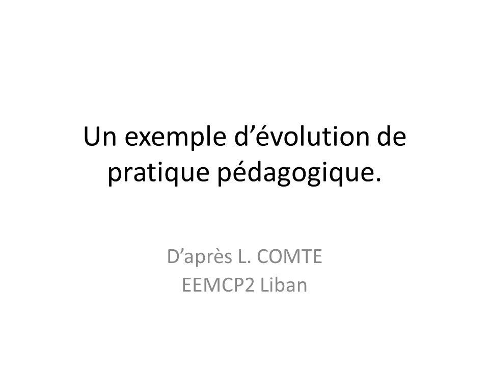 Un exemple dévolution de pratique pédagogique. Daprès L. COMTE EEMCP2 Liban