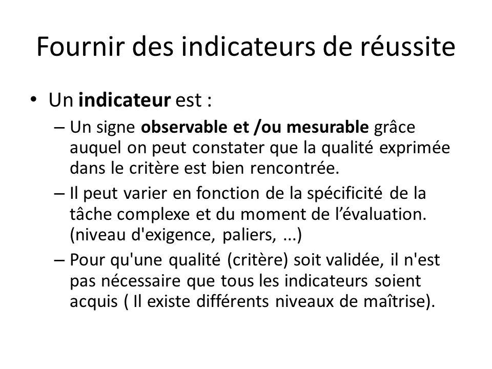 Fournir des indicateurs de réussite Un indicateur est : – Un signe observable et /ou mesurable grâce auquel on peut constater que la qualité exprimée
