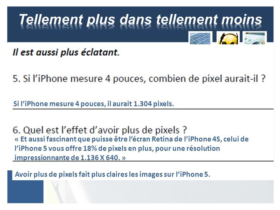 Si liPhone mesure 4 pouces, il aurait 1.304 pixels. « Et aussi fascinant que puisse être lécran Retina de liPhone 4S, celui de liPhone 5 vous offre 18