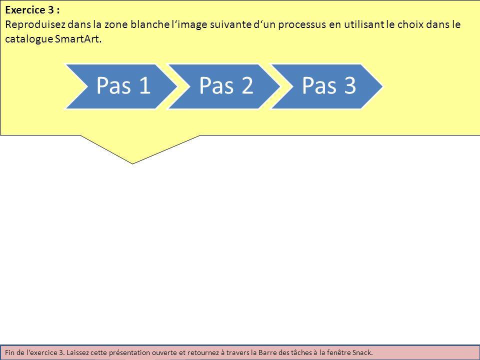 Exercice 3 : Reproduisez dans la zone blanche limage suivante dun processus en utilisant le choix dans le catalogue SmartArt. Pas 1Pas 2Pas 3 Fin de l