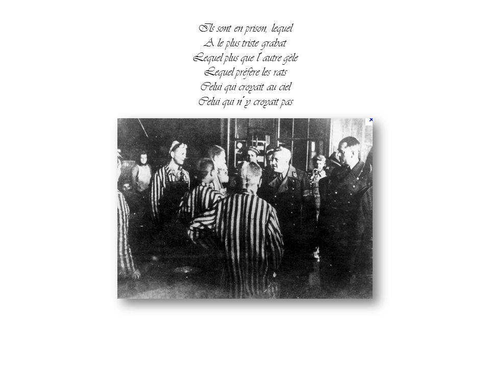 Ils sont en prison, lequel A le plus triste grabat Lequel plus que l´autre gèle Lequel préfère les rats Celui qui croyait au ciel Celui qui n´y croyait pas