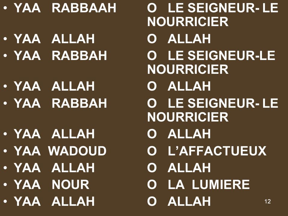 12 YAA RABBAAHO LE SEIGNEUR- LE NOURRICIER YAA ALLAHO ALLAH YAA RABBAHO LE SEIGNEUR-LE NOURRICIER YAA ALLAHO ALLAH YAA RABBAHO LE SEIGNEUR- LE NOURRIC
