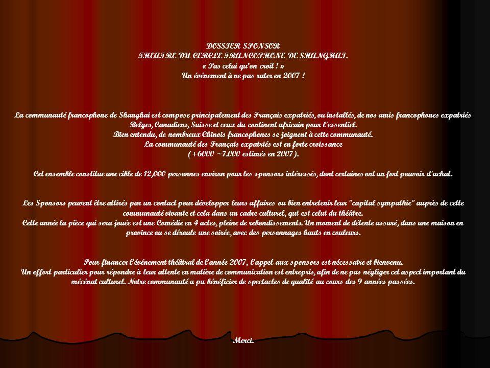 DOSSIER SPONSOR THEATRE DU CERCLE FRANCOPHONE DE SHANGHAI. « Pas celui quon croit ! » Un événement à ne pas rater en 2007 ! La communauté francophone
