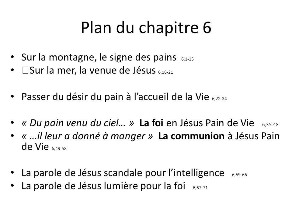 Plan du chapitre 6 Sur la montagne, le signe des pains 6,1-15 Sur la mer, la venue de Jésus 6,16-21 Passer du désir du pain à laccueil de la Vie 6,22-