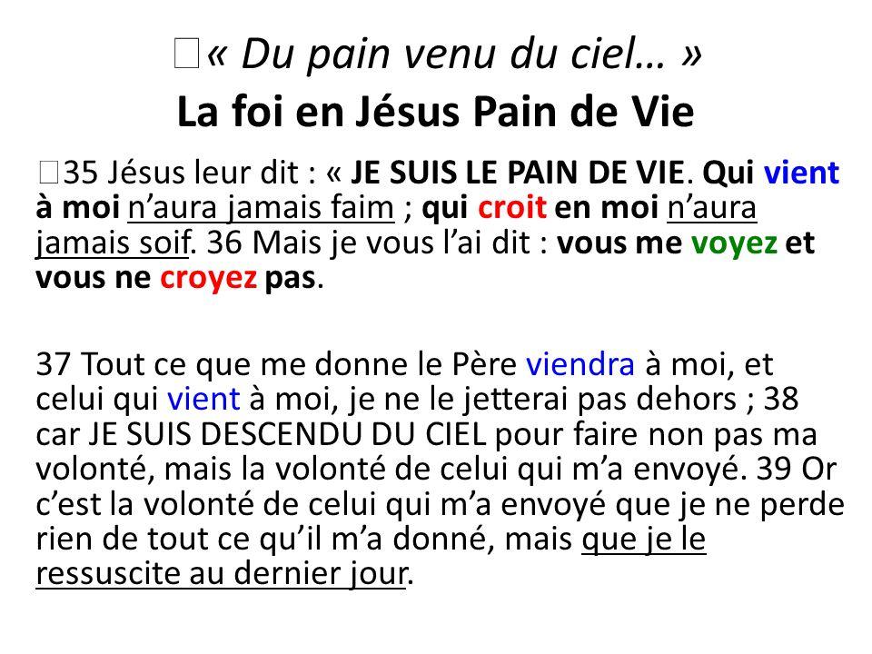 « Du pain venu du ciel… » La foi en Jésus Pain de Vie 35 Jésus leur dit : « JE SUIS LE PAIN DE VIE. Qui vient à moi naura jamais faim ; qui croit en m