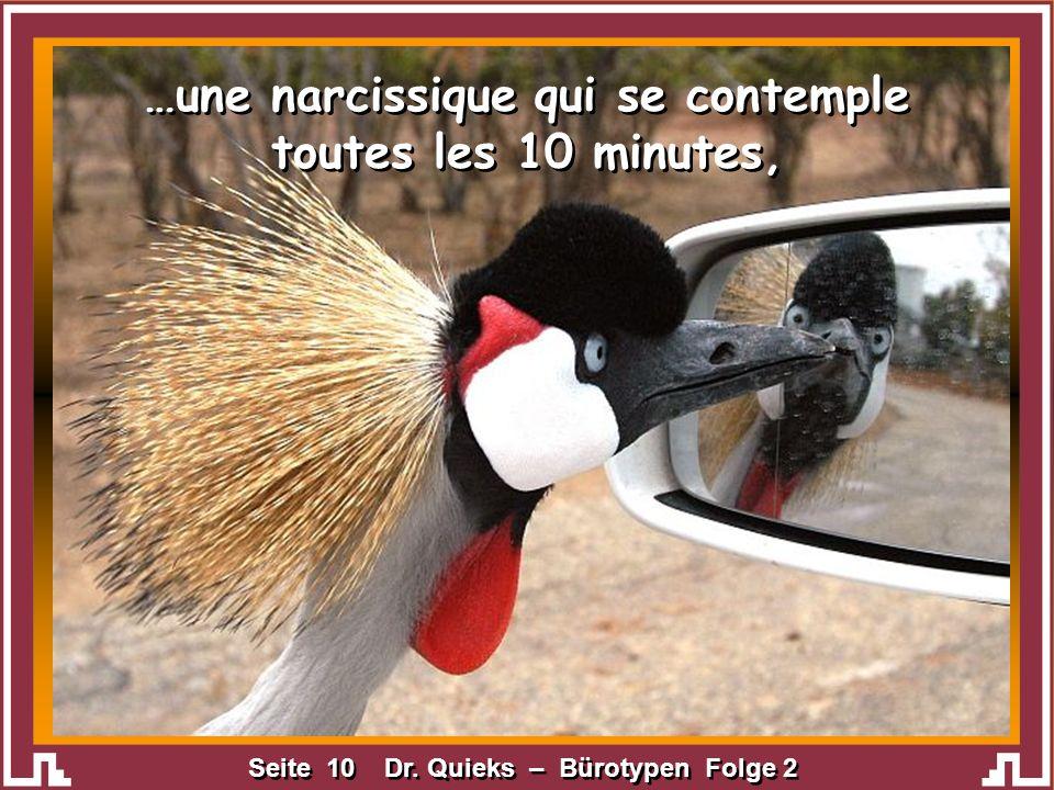Seite 10 Dr. Quieks – Bürotypen Folge 2 …une narcissique qui se contemple toutes les 10 minutes,