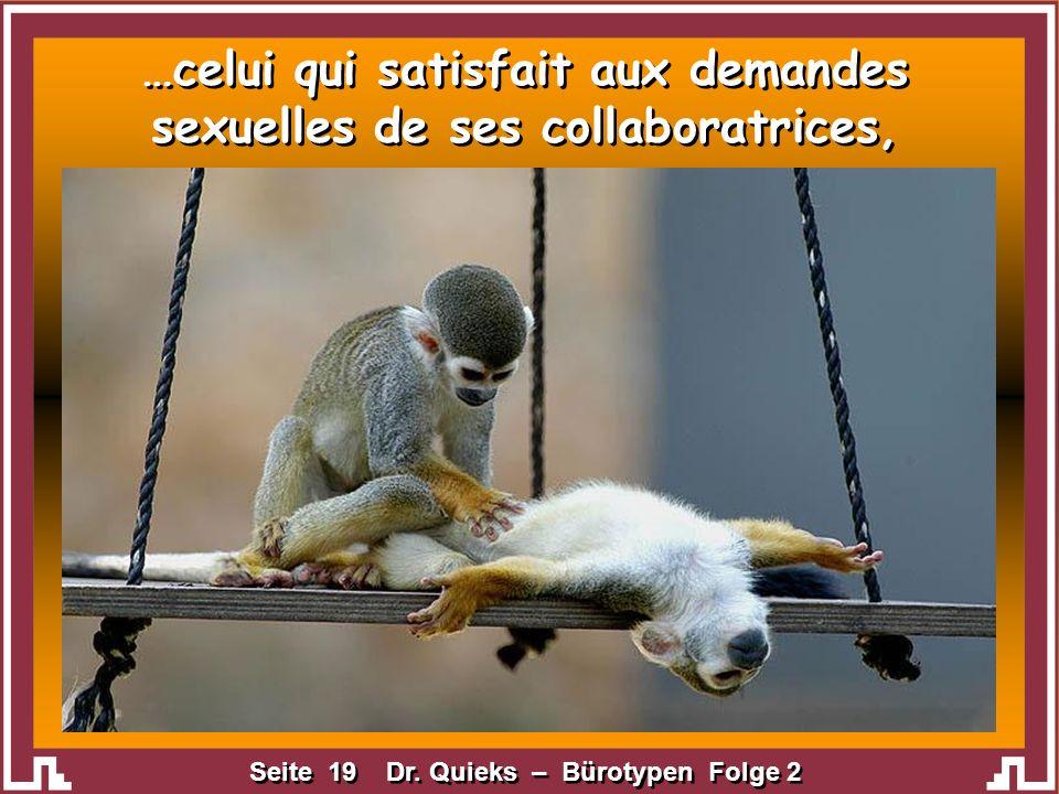 Seite 19 Dr. Quieks – Bürotypen Folge 2 …celui qui satisfait aux demandes sexuelles de ses collaboratrices,