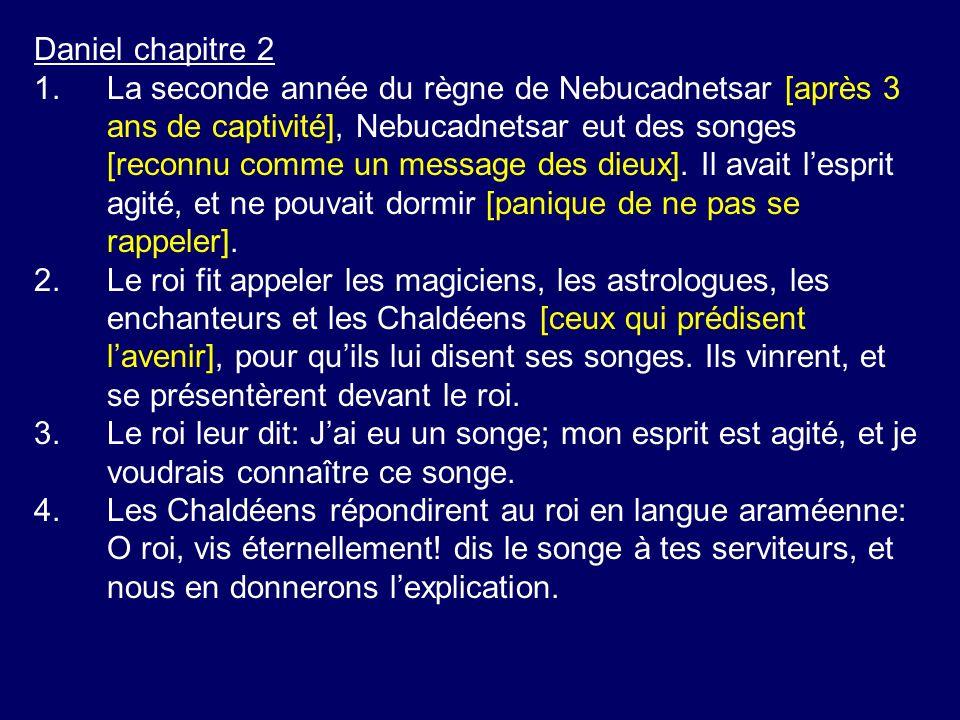 Daniel chapitre 2 1.La seconde année du règne de Nebucadnetsar [après 3 ans de captivité], Nebucadnetsar eut des songes [reconnu comme un message des