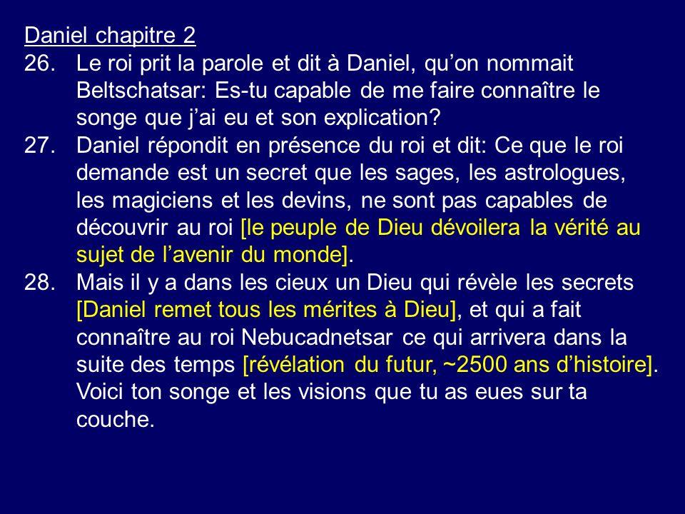 Daniel chapitre 2 26.Le roi prit la parole et dit à Daniel, quon nommait Beltschatsar: Es-tu capable de me faire connaître le songe que jai eu et son