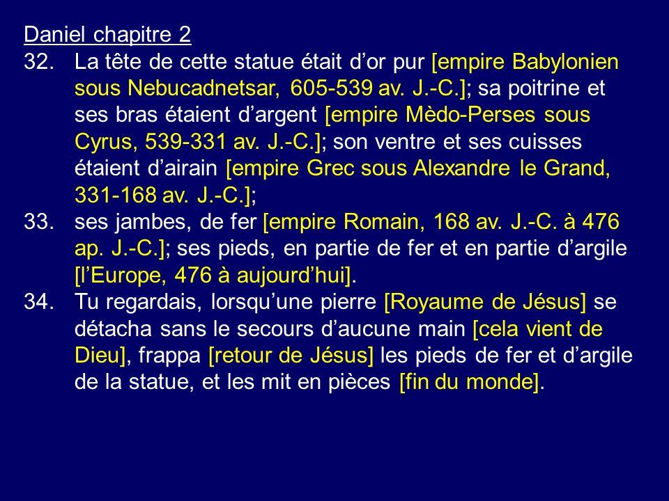 Daniel chapitre 2 32.La tête de cette statue était dor pur [empire Babylonien sous Nebucadnetsar, 605-539 av. J.-C.]; sa poitrine et ses bras étaient