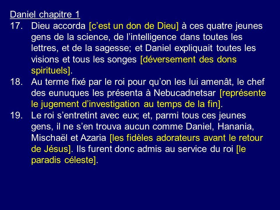Daniel chapitre 1 17.Dieu accorda [cest un don de Dieu] à ces quatre jeunes gens de la science, de lintelligence dans toutes les lettres, et de la sag